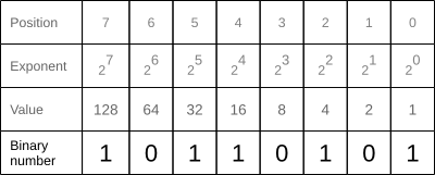 Binary number with decimal bit values